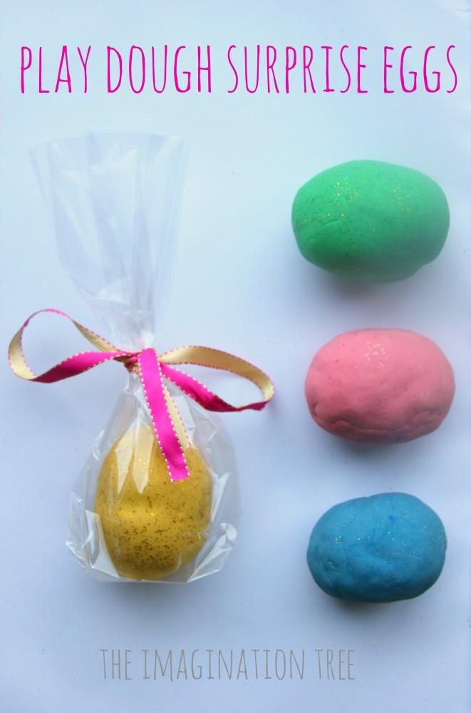 Homemade play dough surprise eggs for easter