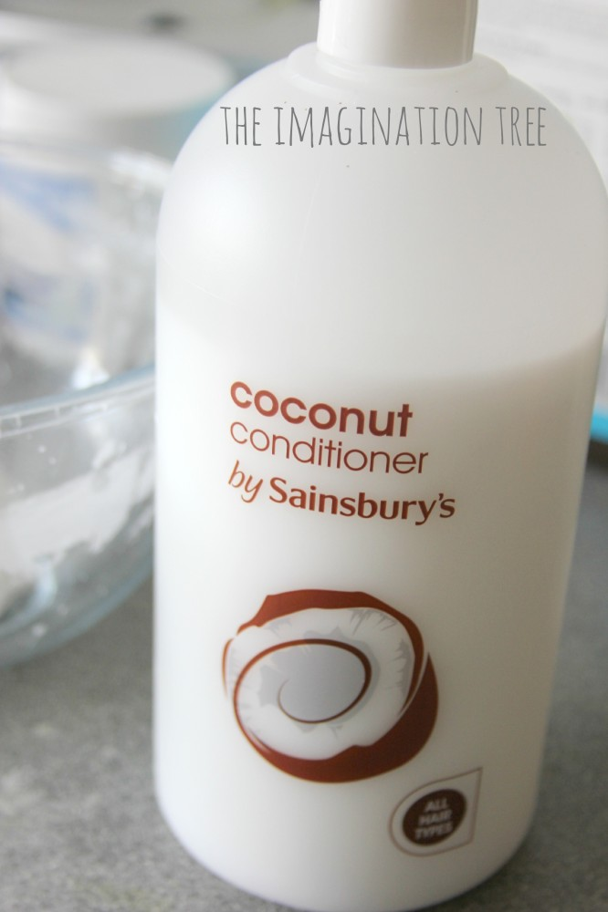 Ingredients in super soft coconut play dough recipe