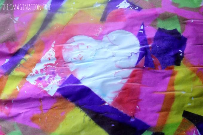 Tissue paper bleeding heart resist art