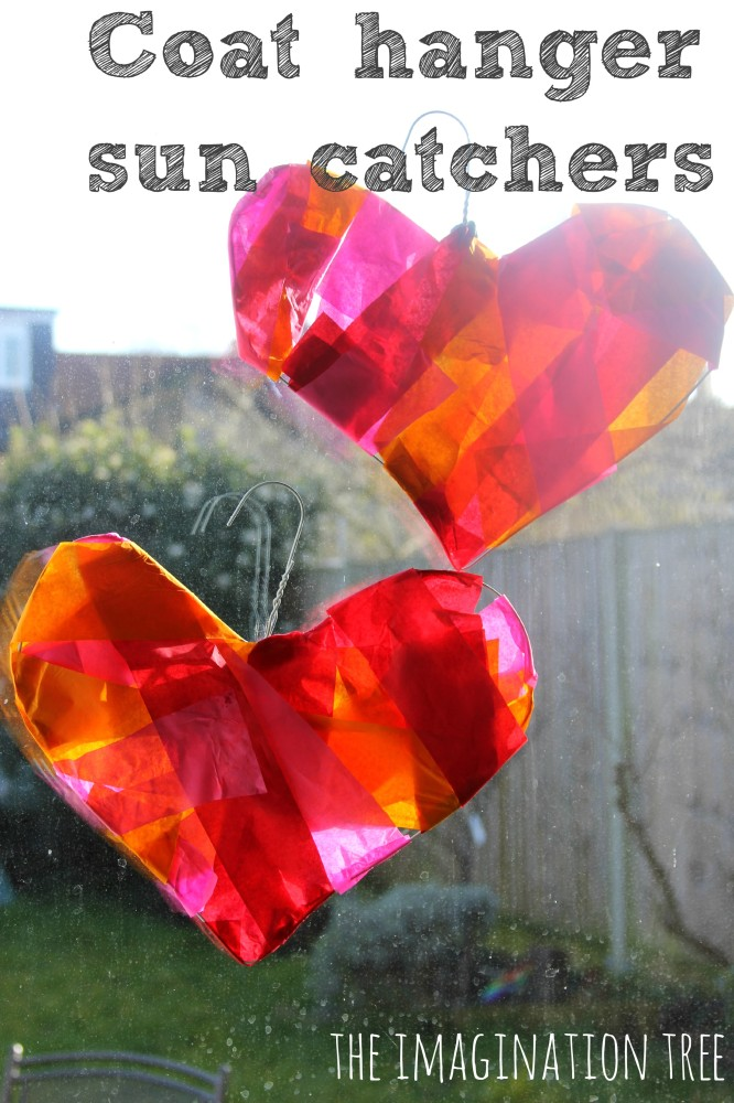 Wire coat hanger heart sun catchers