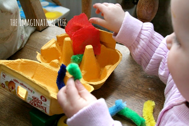 Baby play- fill and empty egg boxes