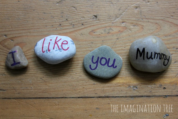 Build sentences with sight word pebbles