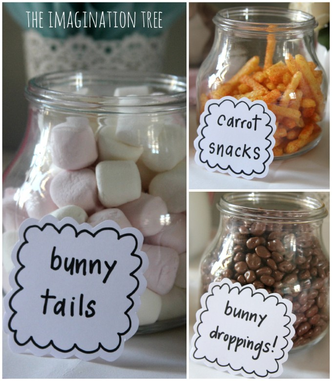 Bunny themed party snacks
