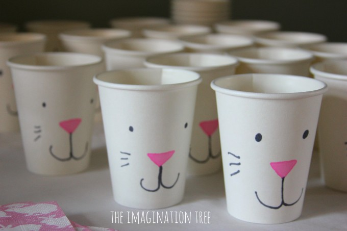 Decorated bunny cups for Easter treats