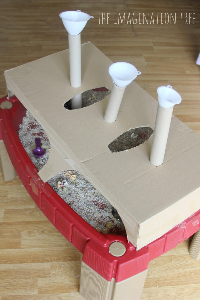 Funnels and tubes over the sensory table