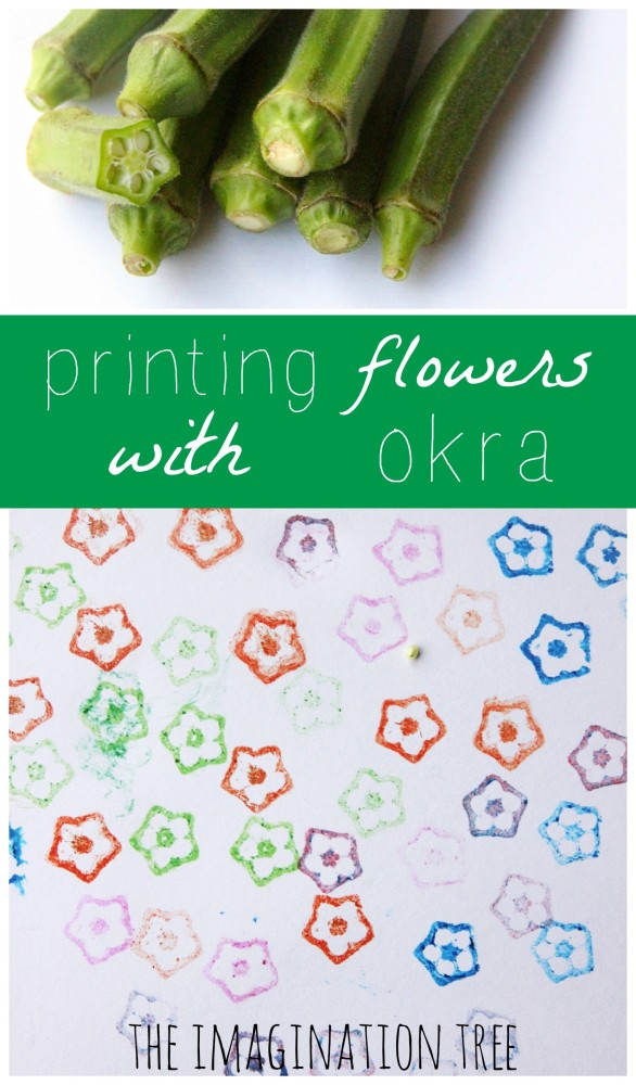 How to make flower prints from okra