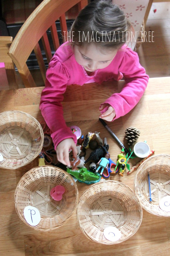 Phonics sorting baskets