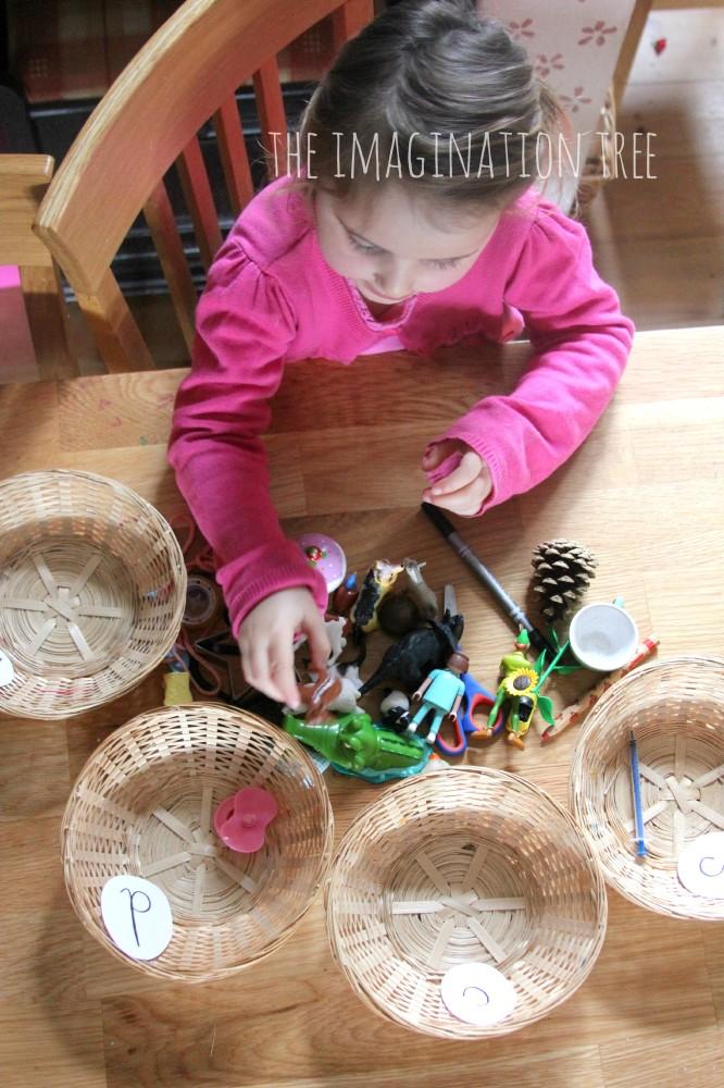 Phonics sorting baskets