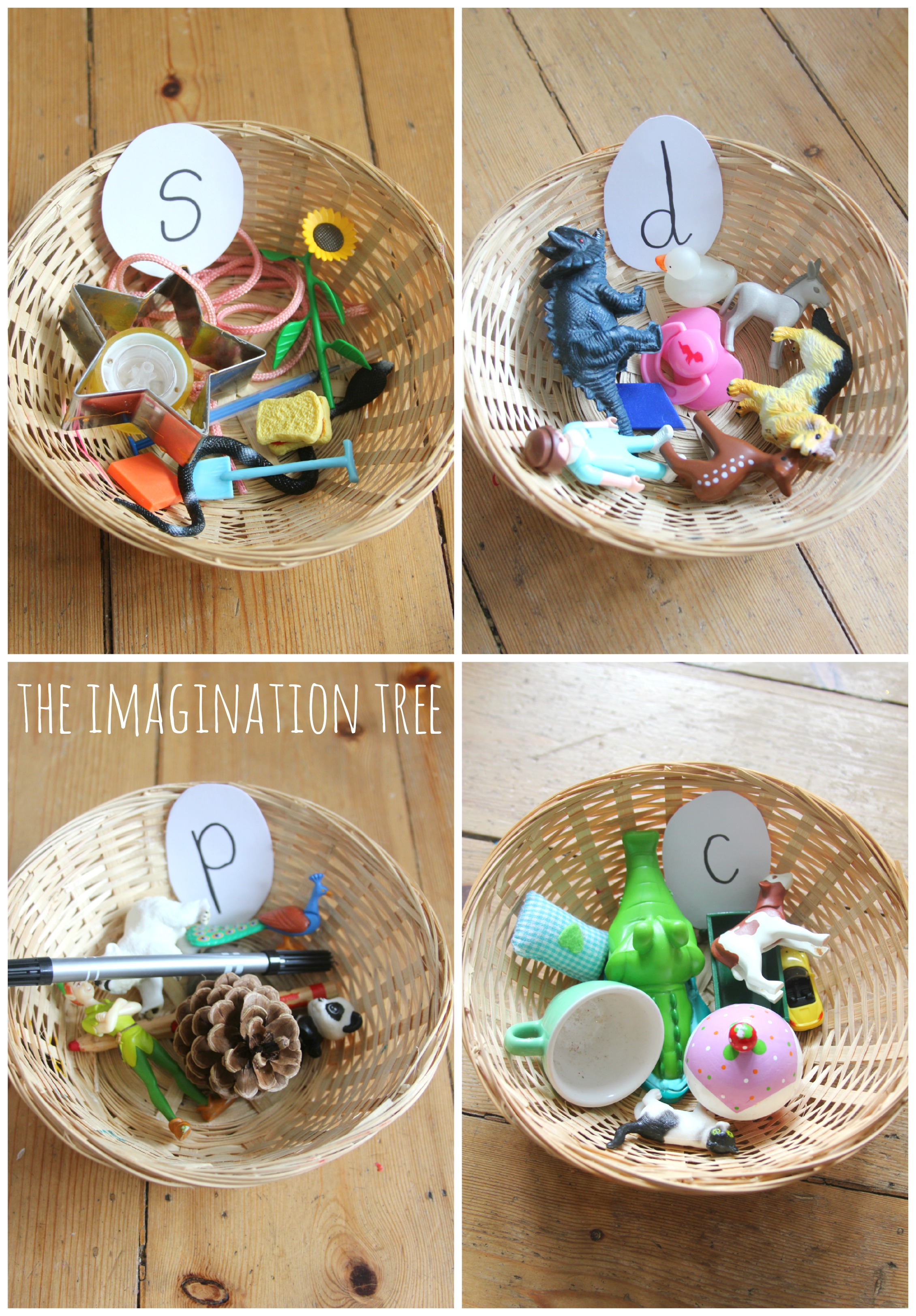 sorting baskets phonics activity the imagination tree. Black Bedroom Furniture Sets. Home Design Ideas