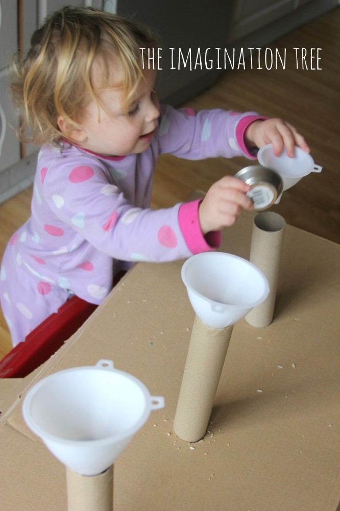 Pouring and scooping with funnels