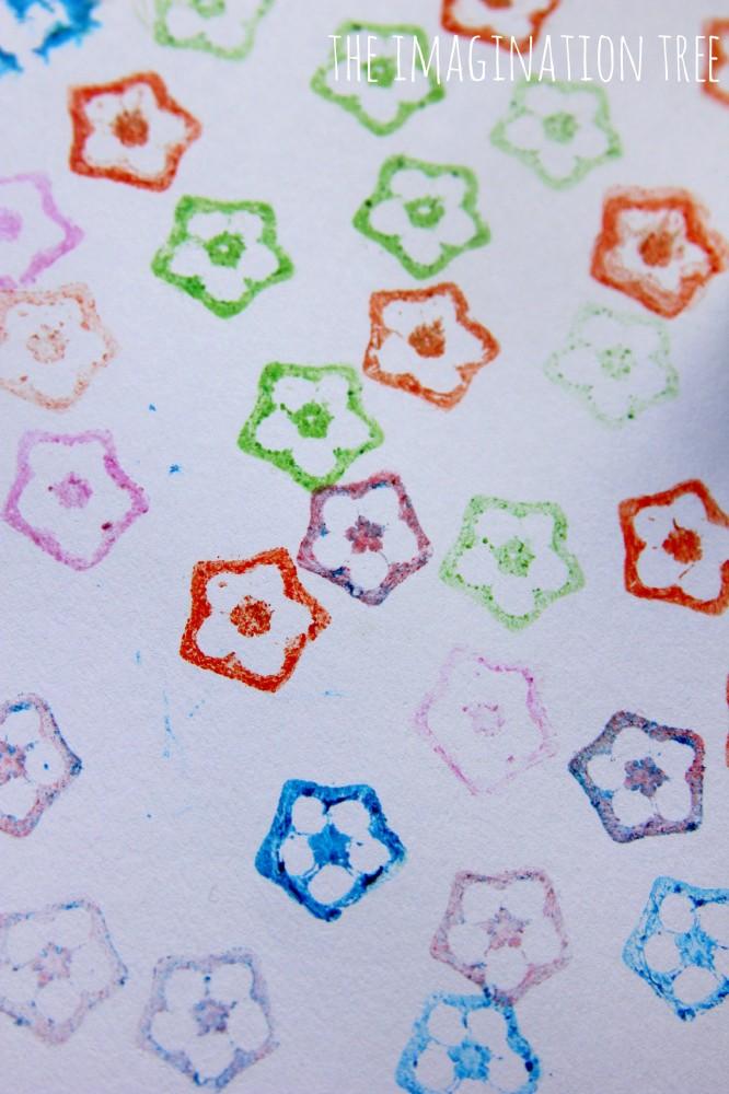 Printing flowers with okra