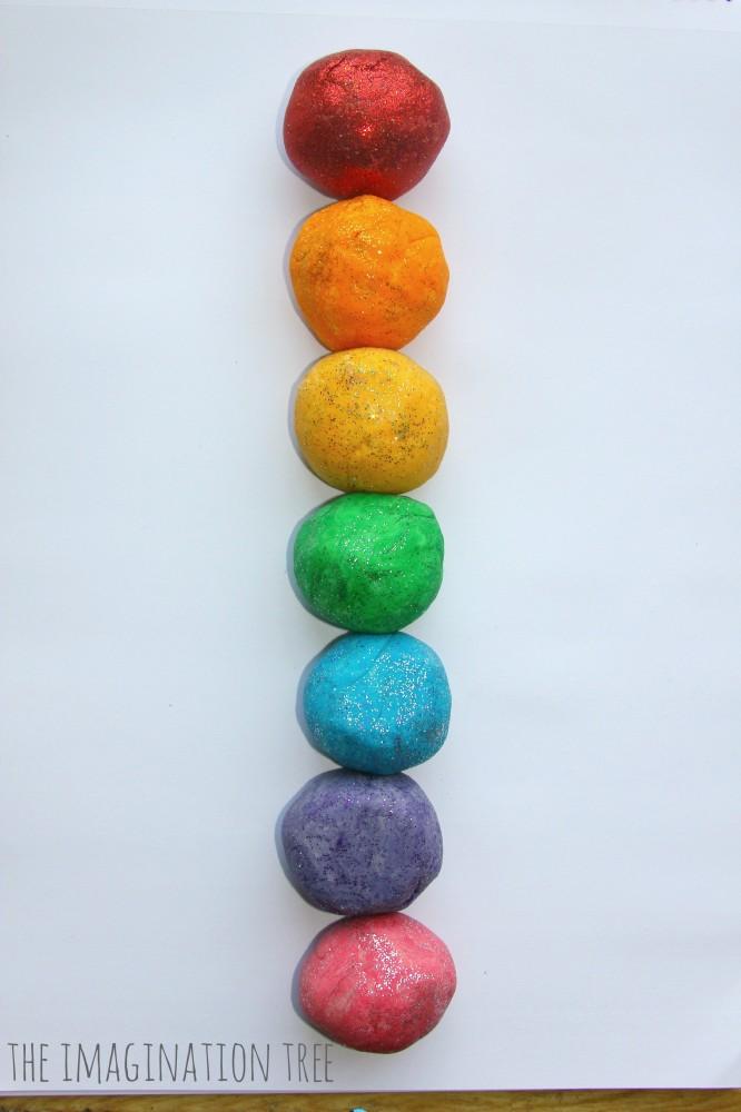 Rainbow coloured salt dough for making models
