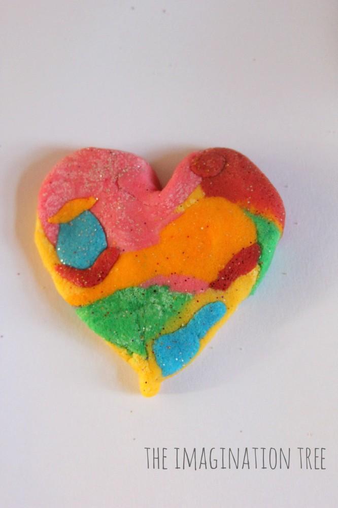 Rainbow marbled salt dough heart