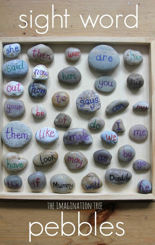 Sight word pebbles for playful literacy activities