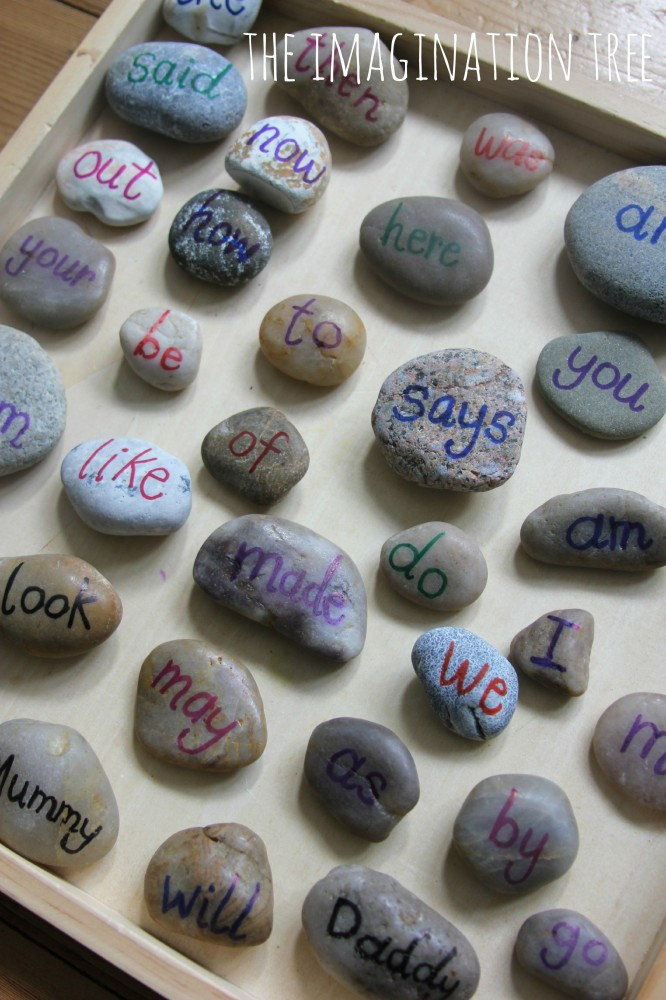 Sight word pebbles literacy game