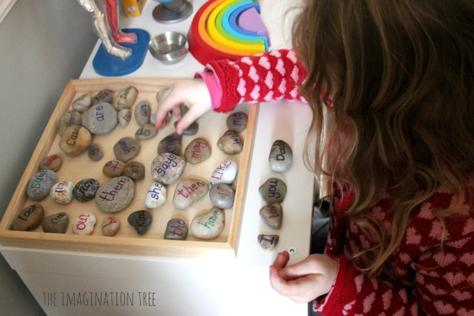 Sight word pebbles sentences literacy play