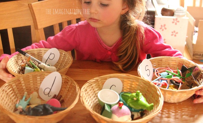 Sorting objects into phonics baskets