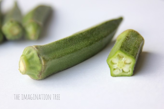 Use okra to print flower shapes!