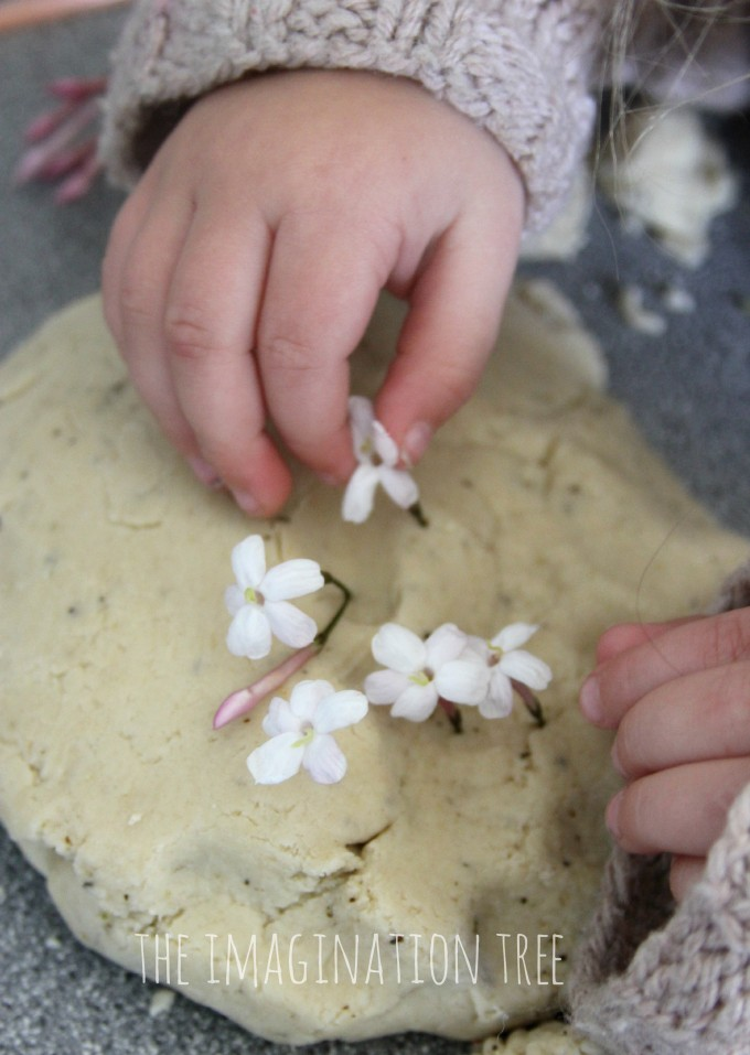 Chamomile play dough recipe for calming sensory play