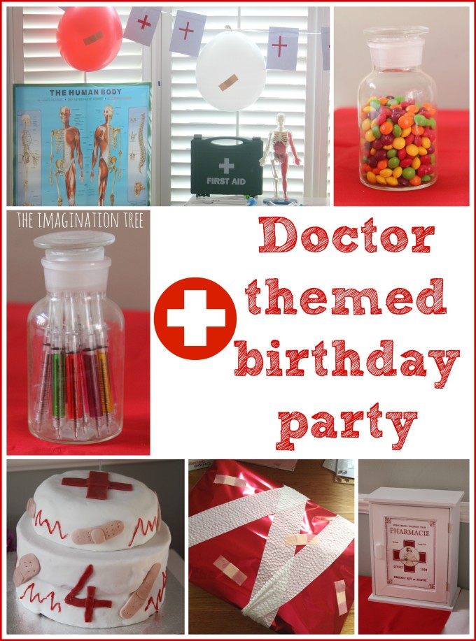 Doctor themed birthday party with ideas for food, decorations and party games!