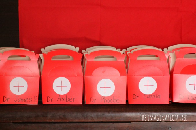 Doctor themed party take-home boxes