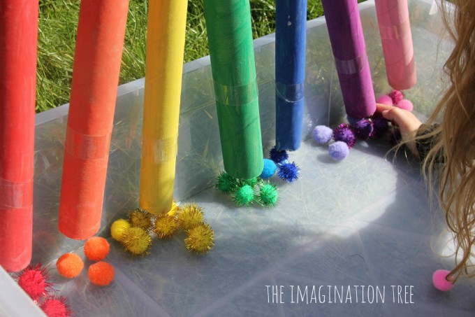 Rainbow colour sorting tubes for preschoolers