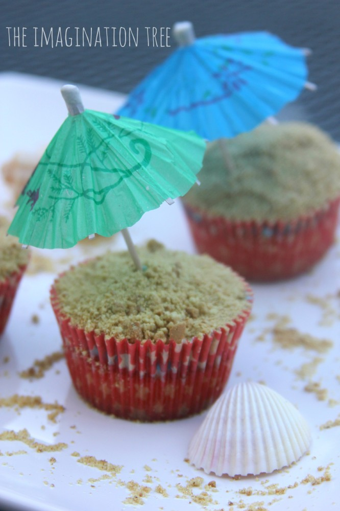 Beach cupcakes recipe with edible sand