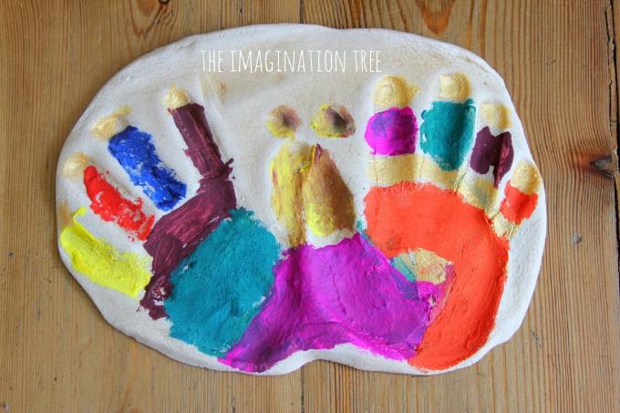Butterfly handprint keep sakes in salt dough