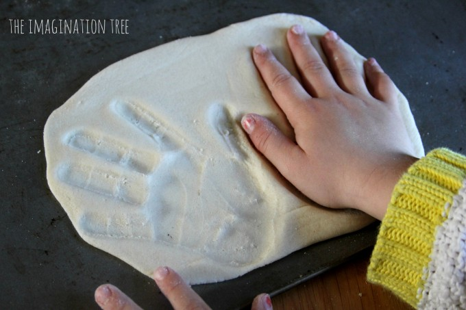 Butterfly handprints in salt dough