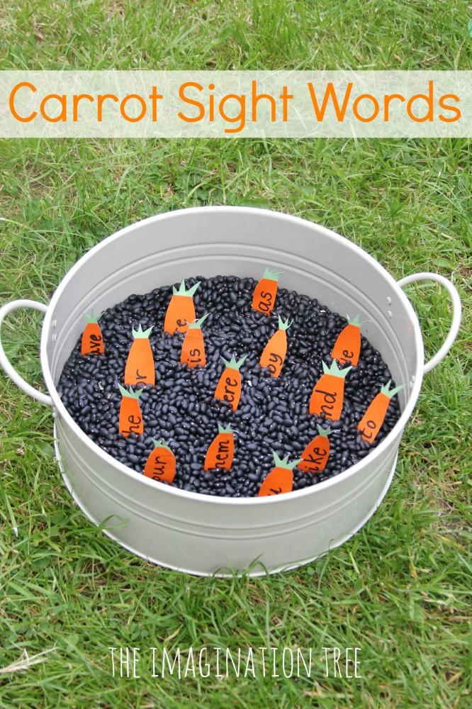 Carrot sight words sensory tub