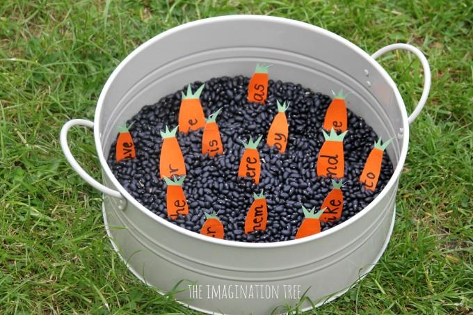 Carrot sight words sensory tub literacy play