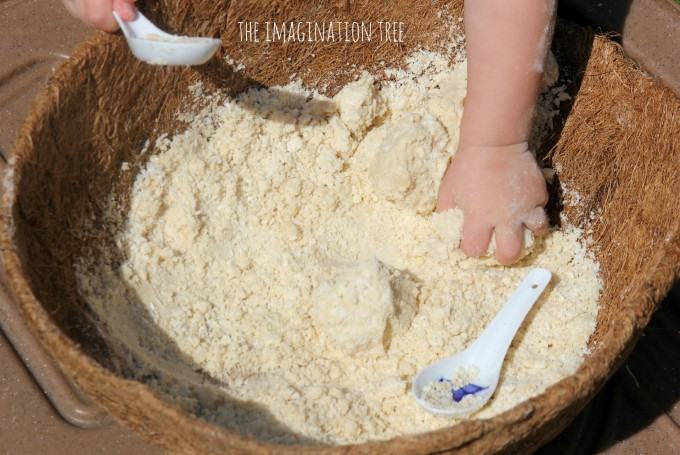 Coconut cloud dough sensory play