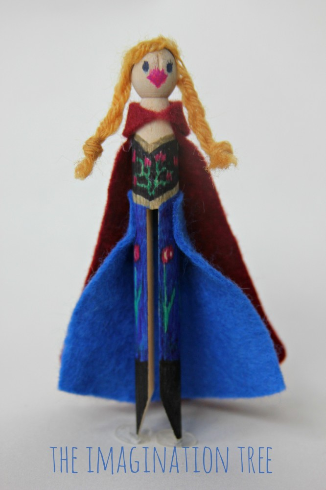 DIY Anna from Frozen peg doll