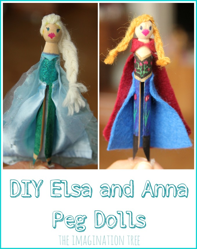 DIY Elsa and Anna from Frozen peg dolls