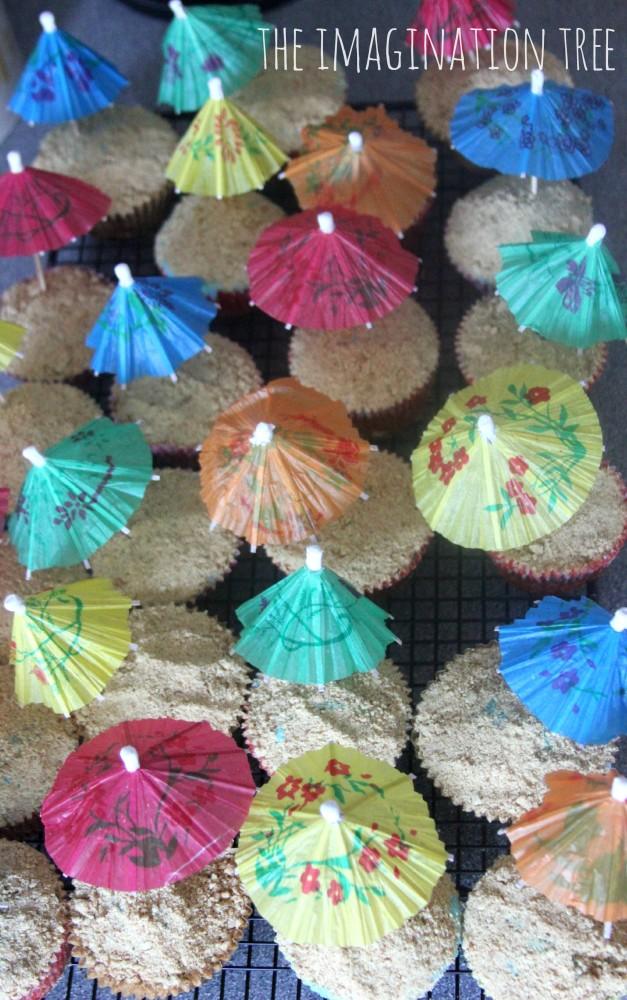 DIY beach themed cupcakes