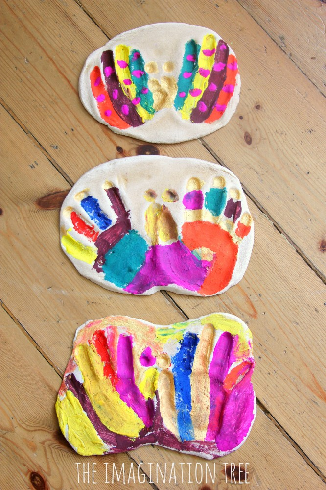 Hand print salt dough butterfly keepsakes