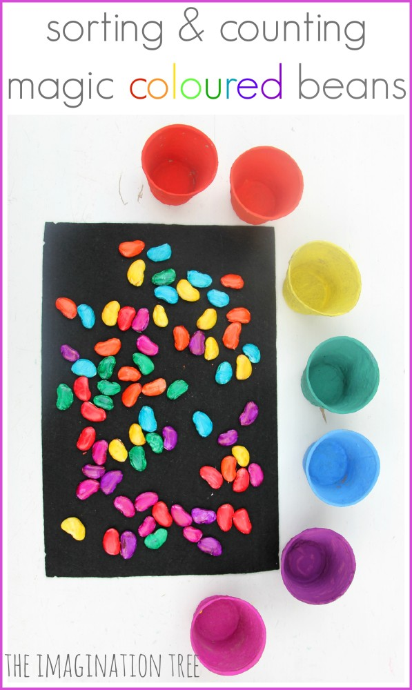 Hoe to make magic coloured beans for counting and sorting play