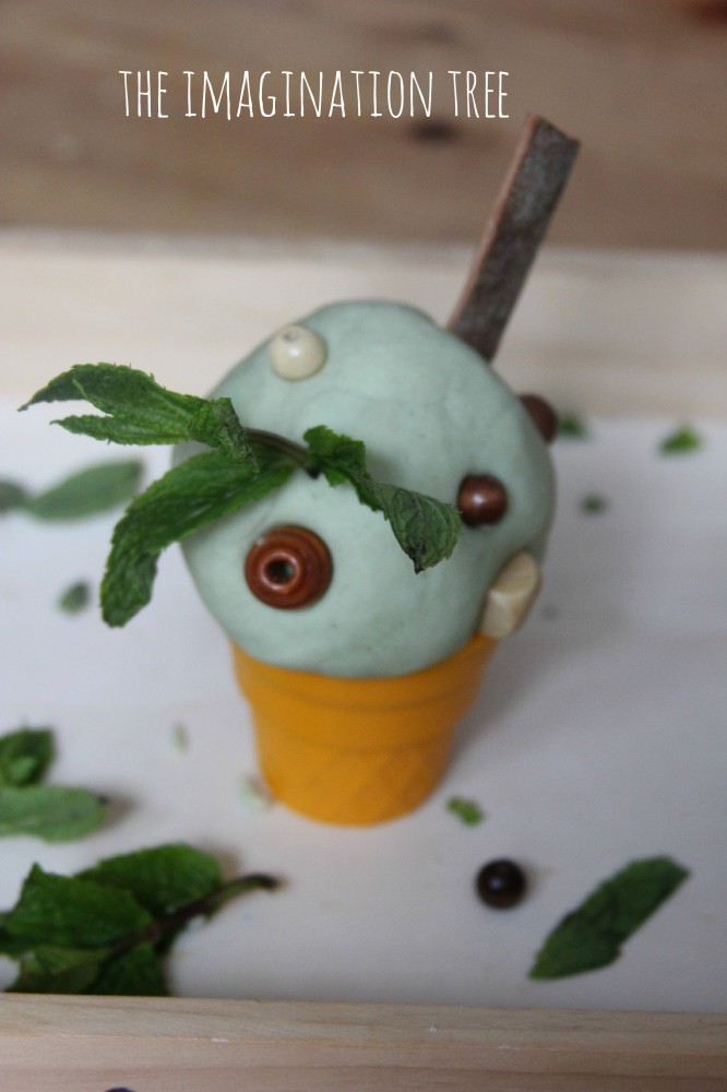 Ice cream play activity with natural mint play dough