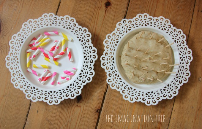 Invitation to play with cut straws and matchsticks