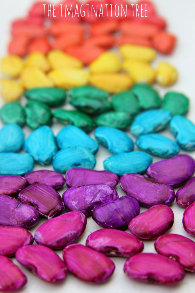 Magic coloured beans for counting and sorting