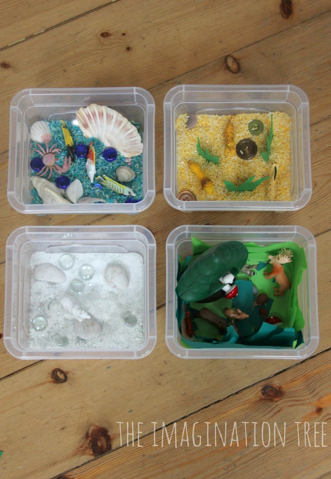 Mini animal habitat sensory tubs