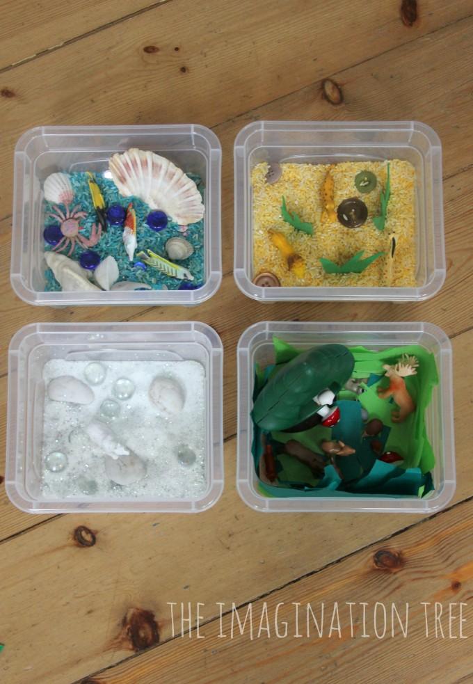 Mini animal habitat sensory tubs