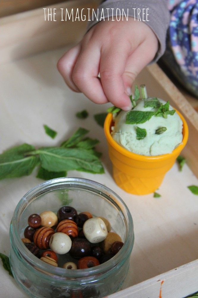 Mint play dough ice creams activity