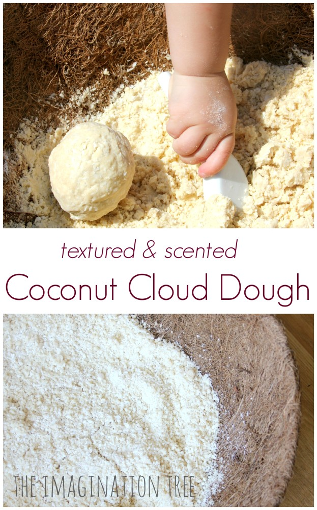 Naturally textured and scented coconut cloud dough recipe
