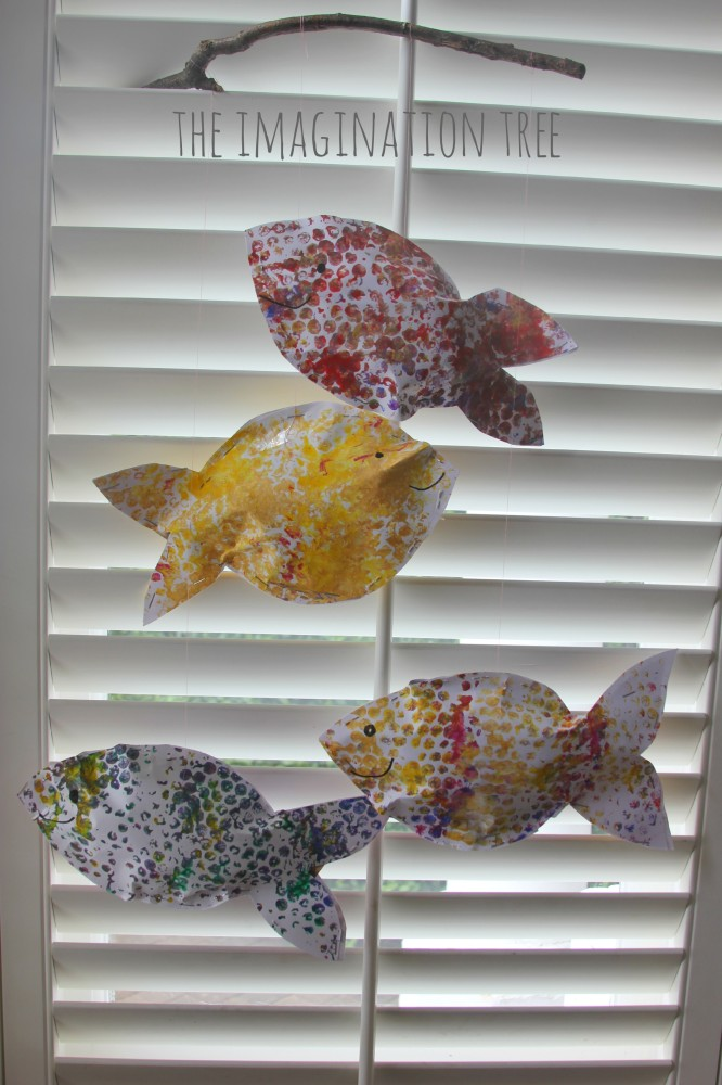 Bubble wrap fish mobile