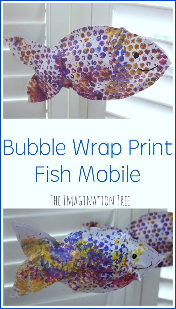 Bubble wrap print fish mobile craft for kids
