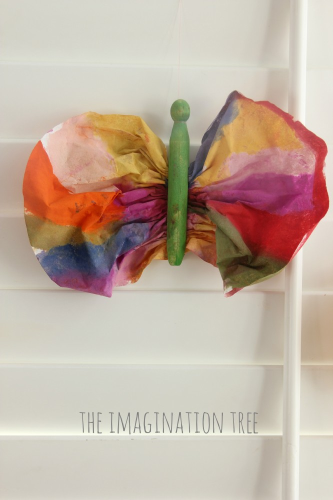 Clothes pin and coffee filter butterfly