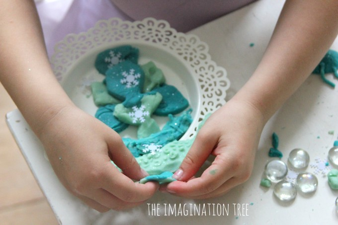 Frozen themed play dough with loose parts