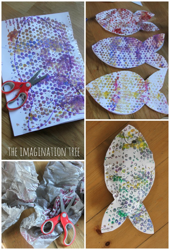 How to make stuffed bubble wrap print fish craft