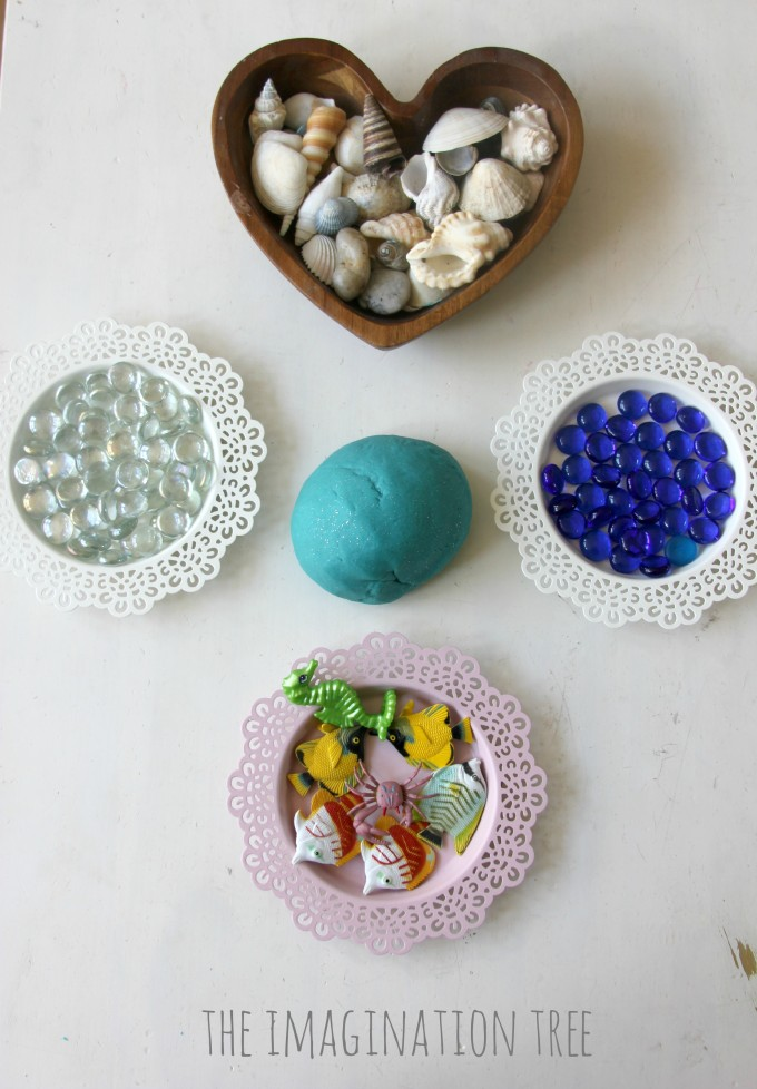 Invitation to play with ocean play dough and shells